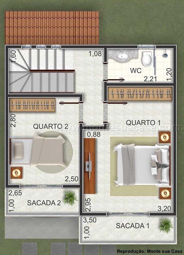 Já o andar de cima fica reservado para os dois quartos com sacadas privativas e o banheiro