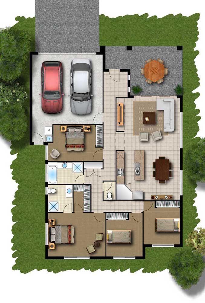 Planta para sobrado simples com quatro quartos e garagem