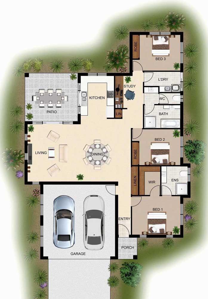 Planta para sobrado com sala de estar e área externa integradas