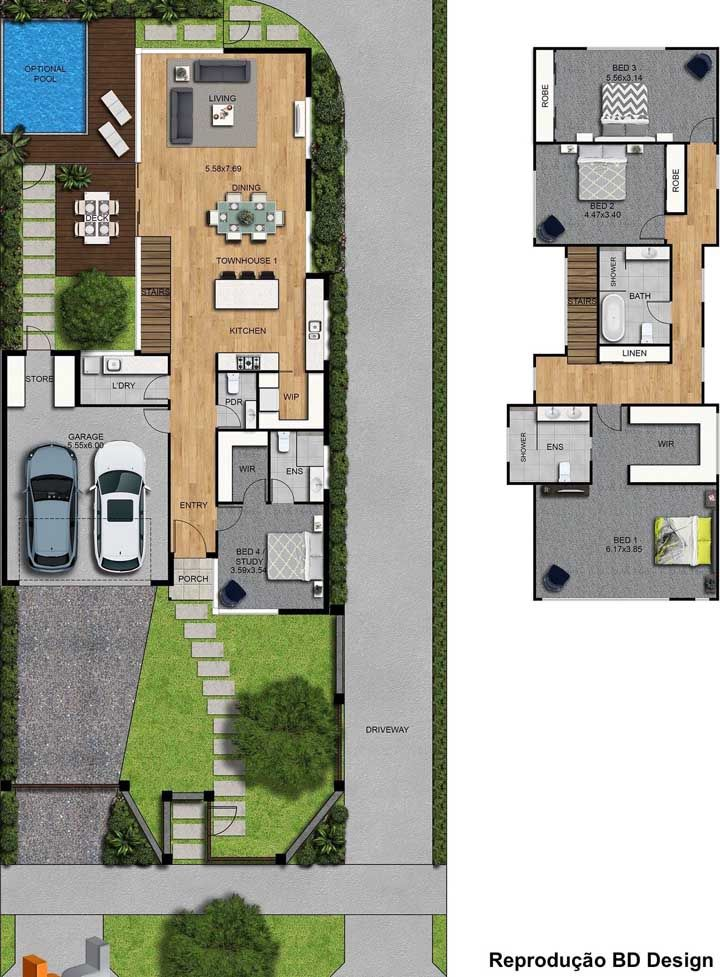 Visão da planta baixa dos dois pavimentos do sobrado; na parte inferior, áreas sociais e na parte superior, os quartos
