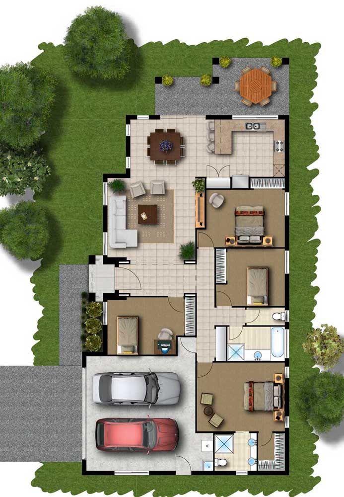 Planta para sobrado com entrada lateral; os quatro quartos ficam entre os demais ambientes da casa