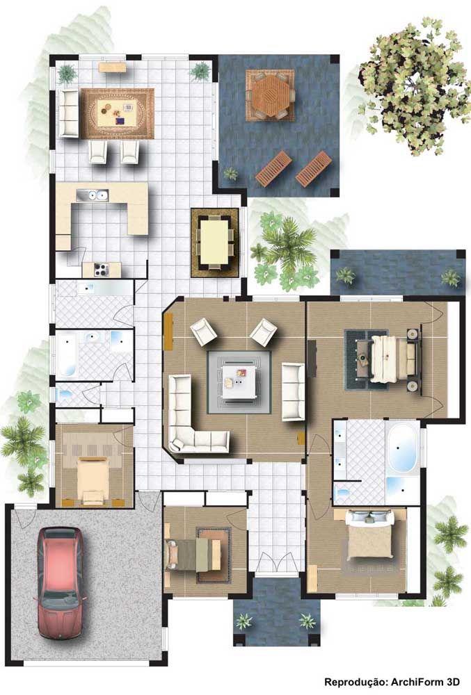 Planta baixa de um sobrado grande: a visão do primeiro pavimento revela ambientes integrados e três quartos, sendo um deles com suíte