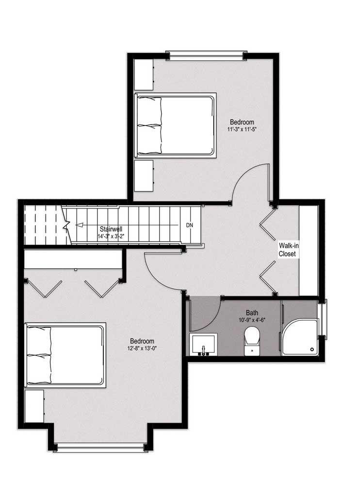 No pavimento superior desse sobrado ficam os dois quartos com acesso compartilhado ao banheiro e closet