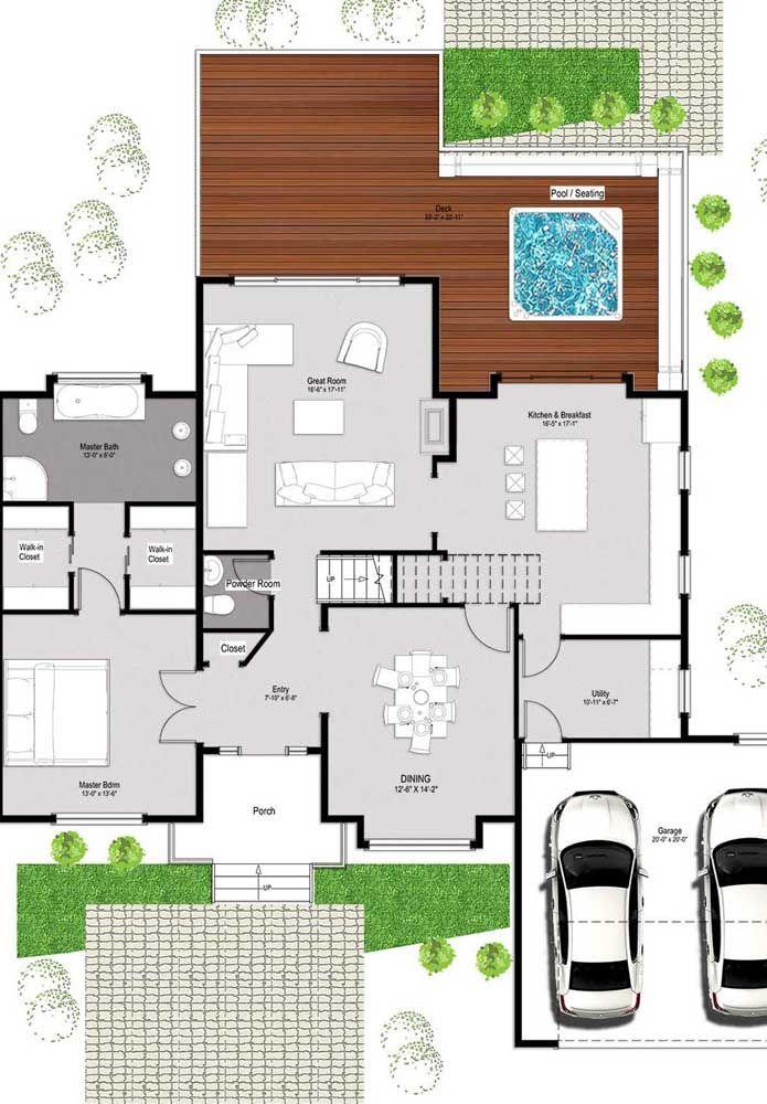 Já na parte inferior, foram projetadas as áreas sociais com espaço para uma suíte máster
