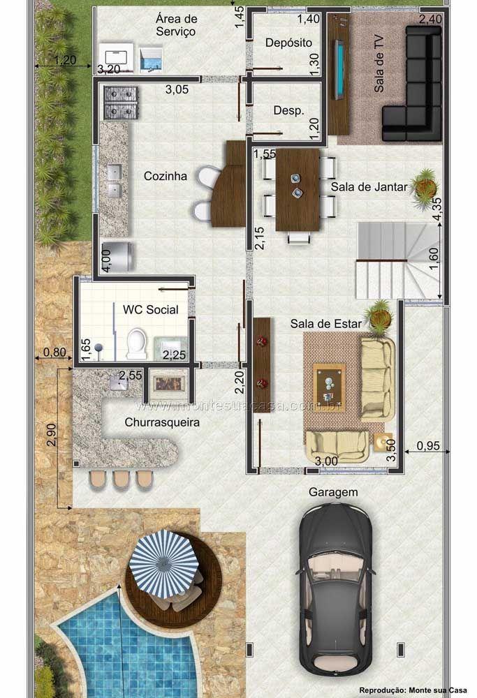 Planta de sobrado com piscina e garagem; no primeiro pavimento são as áreas sociais que se destacam