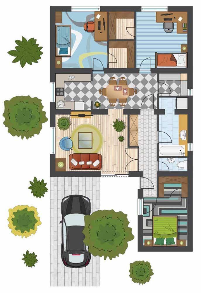 Planta para sobrado simples com dois quartos juvenis e um quarto de casal