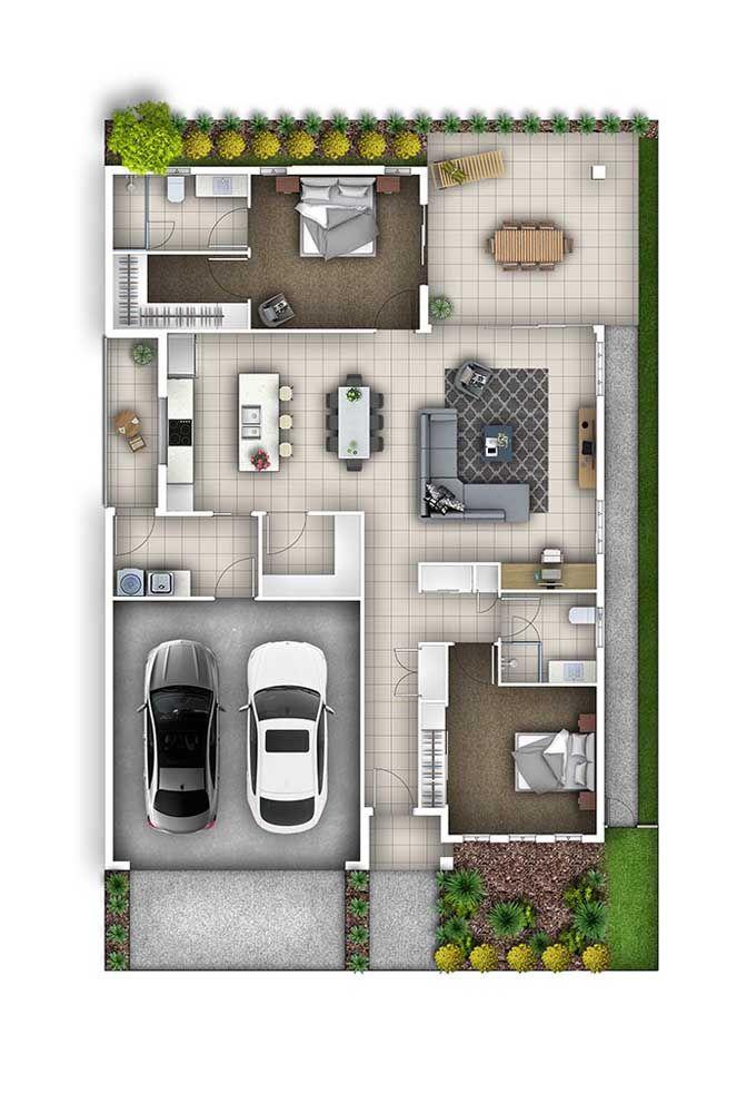 Planta para sobrado com um quarto e uma suíte; ambientes sociais integrados e área externa com acesso pela sala de estar