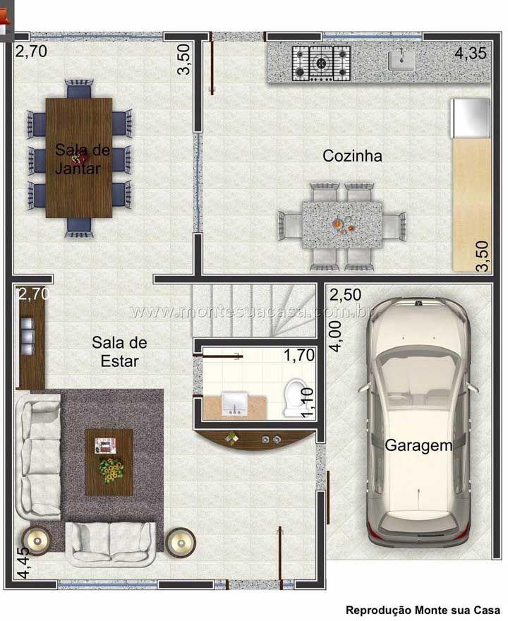 Planta para sobrado pequeno, simples e de formato quadrado; o pavimento inferior conta apenas com as áreas sociais integradas e um lavabo