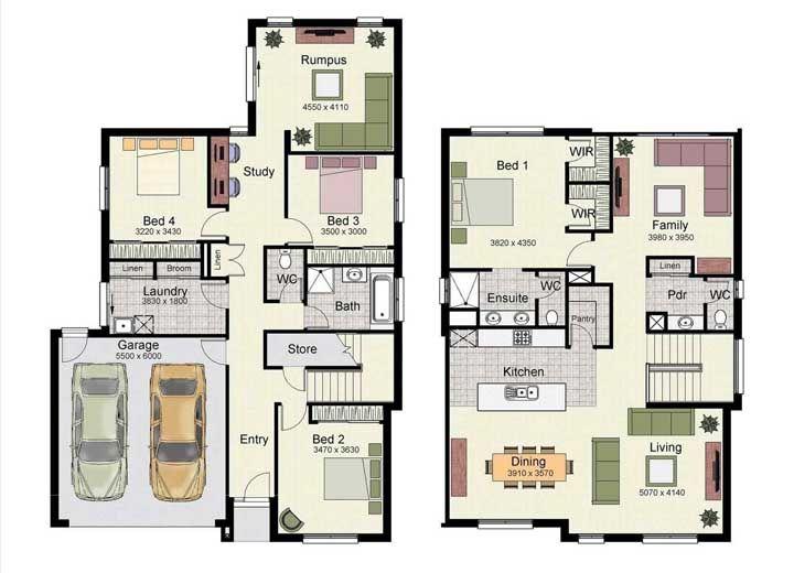 Pouco usual, essa planta para sobrado traz cozinha, sala de estar e jantar no piso superior, enquanto a piso térreo acomoda os quartos