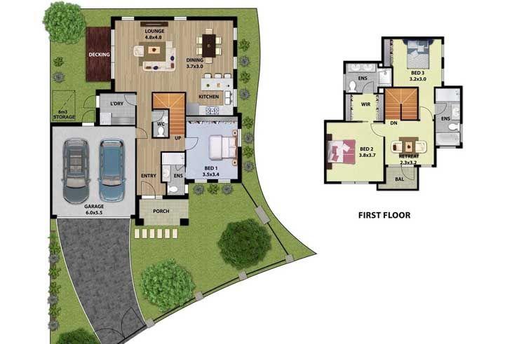 Caso tenha a necessidade de muitos quartos, pode dividi-los entre os dois pisos do sobrado, como nessa planta
