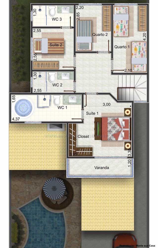 Enquanto o andar de cima traz dois quartos, duas suítes e um banheiro de uso comum