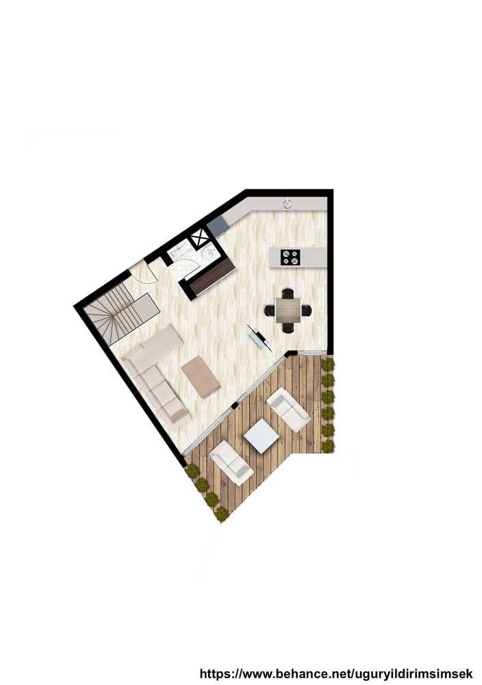 Planta de casa pequena sobrado; opção para quem não possui um terreno grande; repare que o formato enviesado da construção confere um grau de modernidade ao projeto, dispondo até mesmo de um pequeno terraço aos fundos
