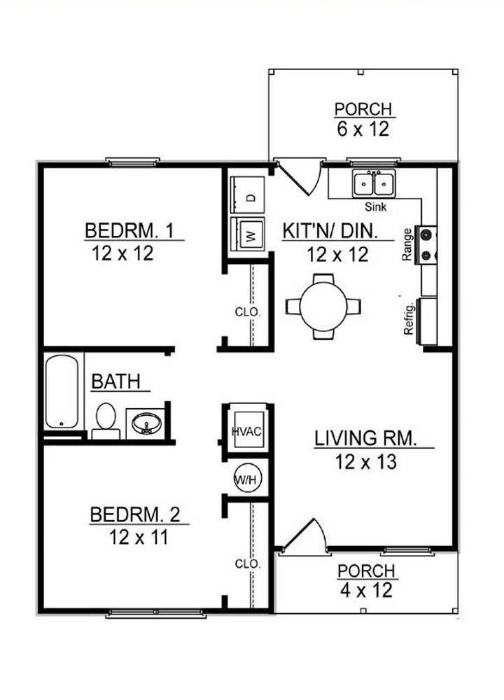 Planta de casa pequena com dois quartos e ambientes integrados