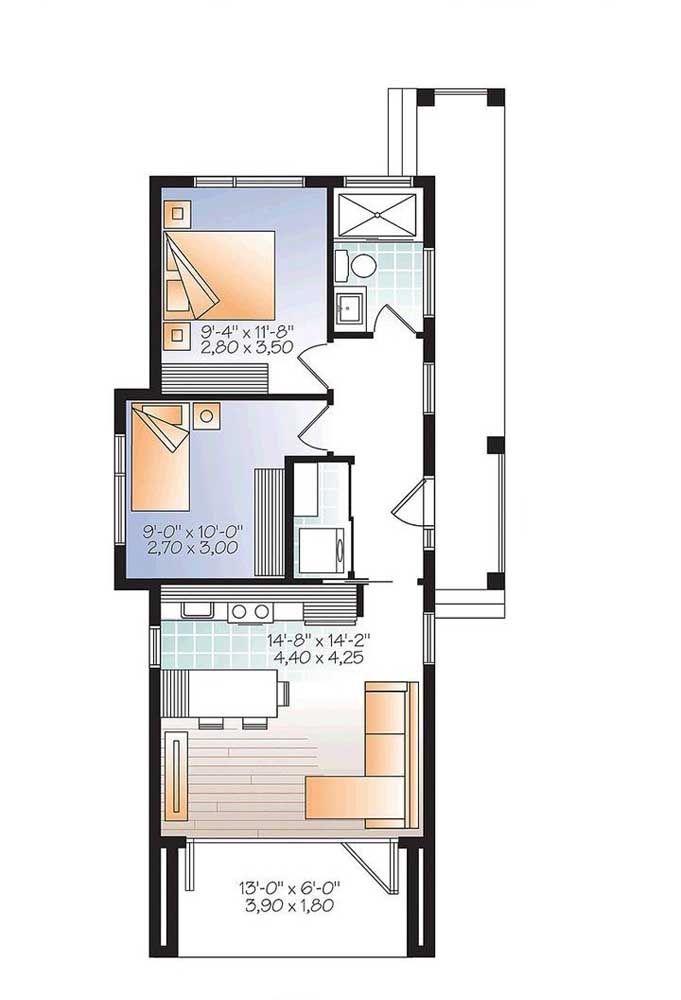 Planta de casa pequena e estreita; ideal para terrenos retangulares; nesse modelo os quartos foram deixados para os fundos da casa