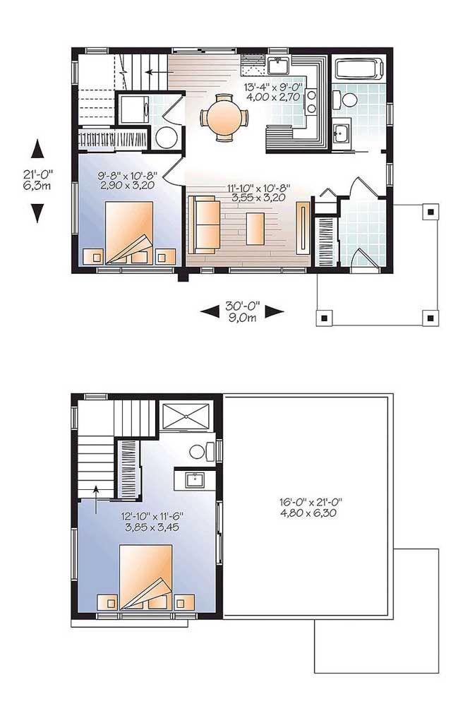 Planta de sobrado pequeno; repare que nesse projeto os quartos foram divididos entre os dois pavimentos