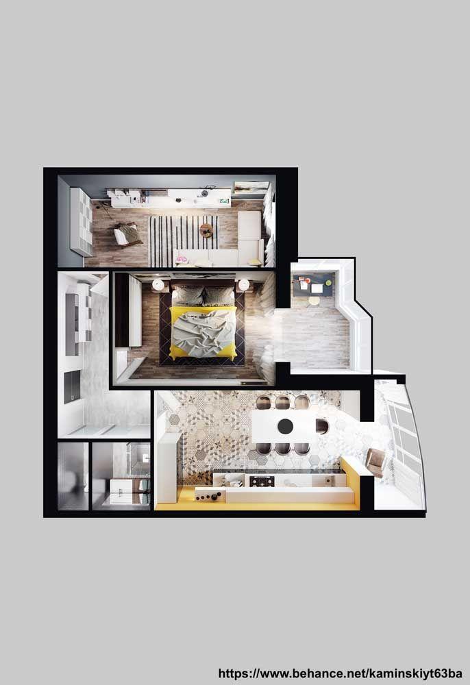 Visão 3D de uma planta de casa pequena; projeto perfeito para um casal que gosta de receber visitas em casa