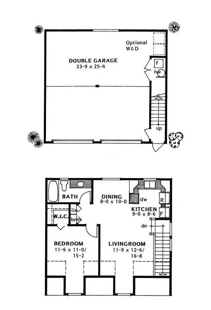 Nesse projeto, o terreno foi melhor aproveitado com a garagem ocupando o piso inferior e a casa de apenas um quarto construída na parte de cima
