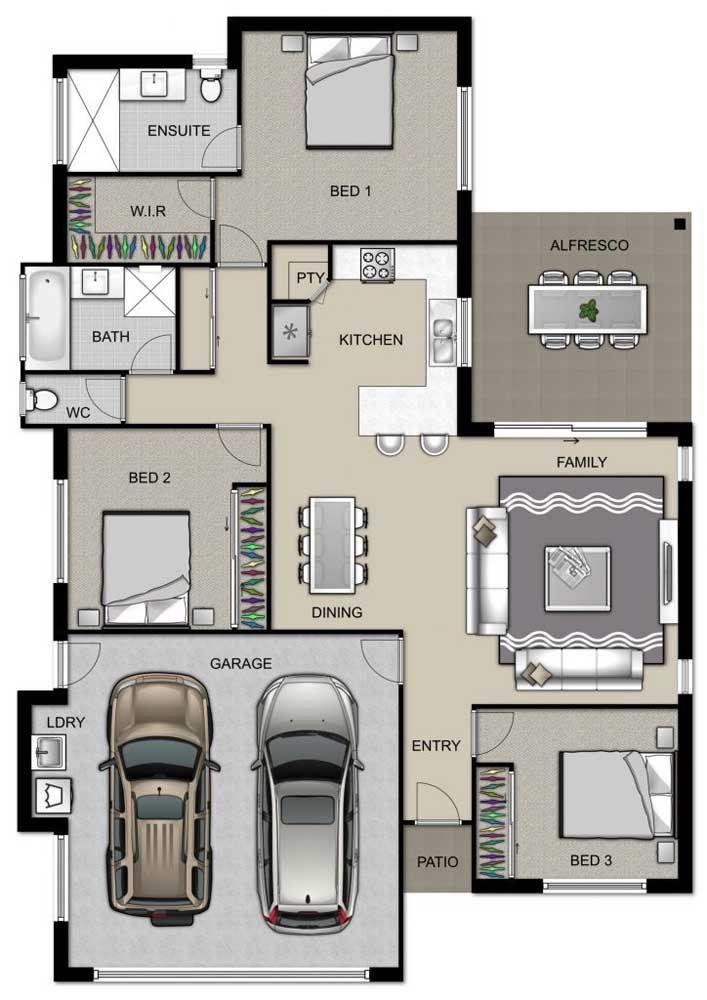 Planta para casa pequena com três quartos, garagem e ambientes integrados