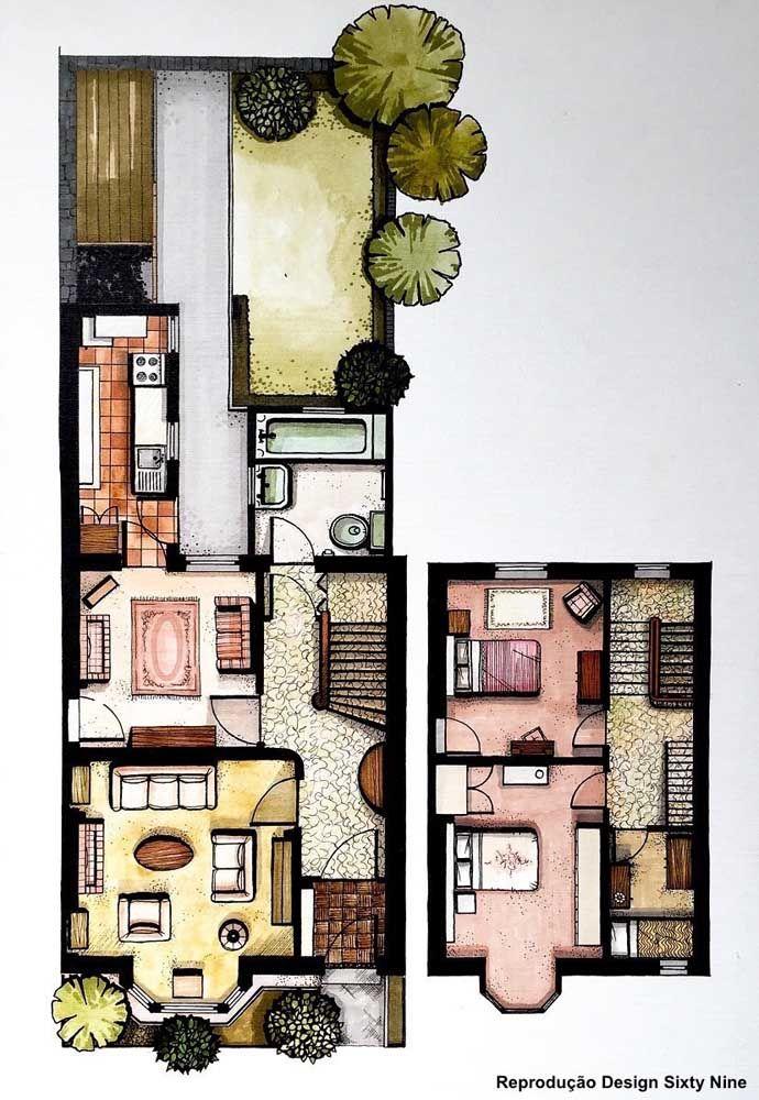 Nessa planta de casa pequena, o mezanino abriga três quartos, sendo um bem pequenino