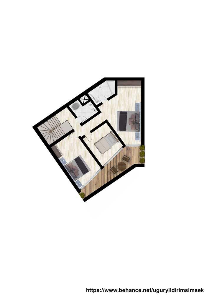 Já o andar de cima abriga com conforto dois quartos, um banheiro e uma suíte com varanda integrada aos demais quartos