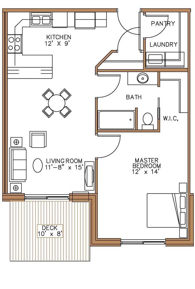 Na hora de planejar a planta da casa pequena priorize aquilo que é importante para você, no modelo abaixo é a suíte a parte principal da casa