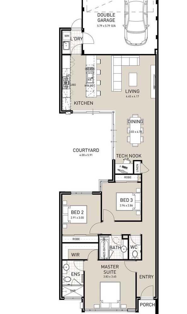 Sugestão de planta de casa pequena estreita; a entrada é feita pela sala de estar integrada a cozinha