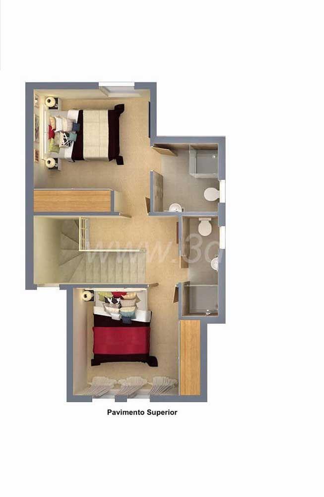 A parte de cima desse sobrado comporta mais dois quartos e banheiros