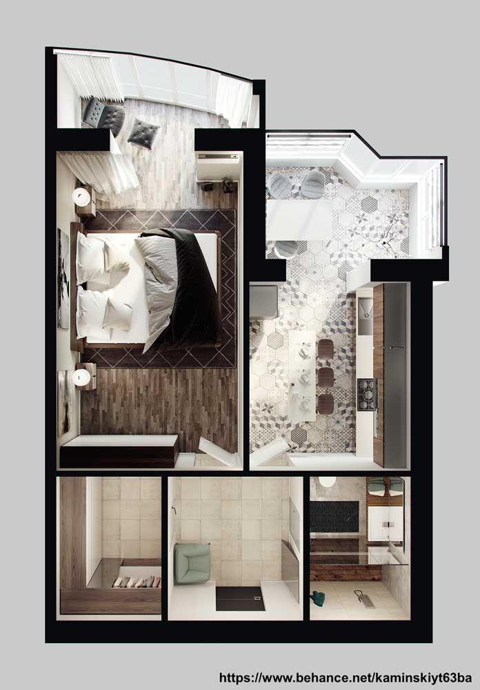Planta de casa pequena em 3D ideal para um casal; o quarto amplo é a prioridade dessa casa, enquanto os ambientes integrados valorizam a convivência social