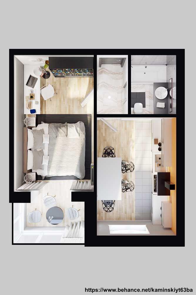 Tão pequena que pode ser considerada uma mini casa; repare que aqui nesse projeto há espaço para um home office e uma varanda confortável integrados ao quarto