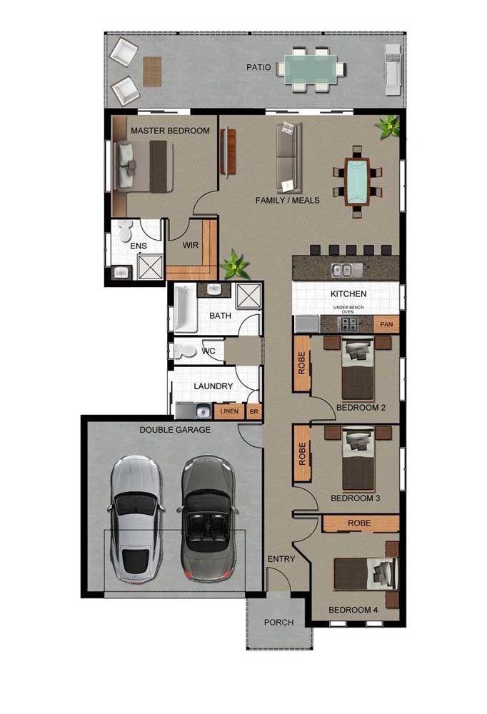 Casa pequena com quatro quartos e terraço: uma ótima opção de planta de casa para famílias grandes e que gostam de receber amigos e familiares