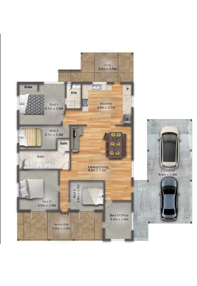 Nessa pequena casa a área de serviço foi integrada à cozinha