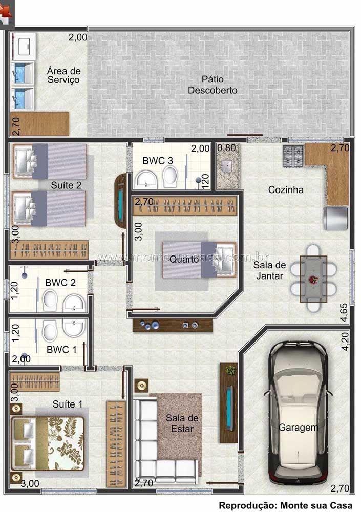 Mesmo com o pequeno corredor entre a sala e a cozinha, os dois ambientes não deixaram de ser integrados nessa planta