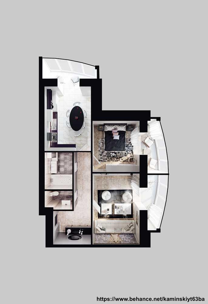 O destaque dessa planta de casa pequena vai para a atenção especial dada a iluminação natural; repare que as grandes janelas de vidro garantem luz abundante para o interior da casa
