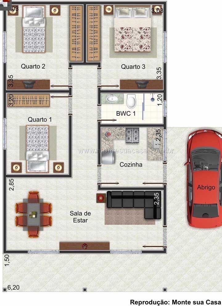 Modelo de planta de casa pequena, simples e muito funcional