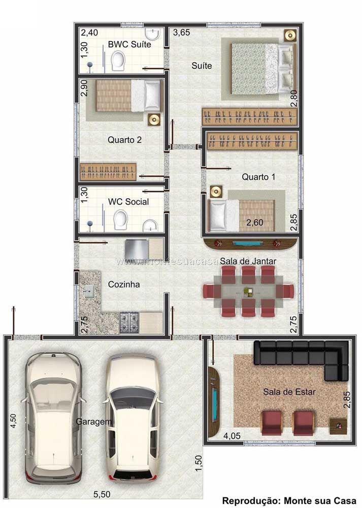 Mesmo que os cômodos sejam menores, vale a pena construir mais de um quarto quando a família possui mais de um filho