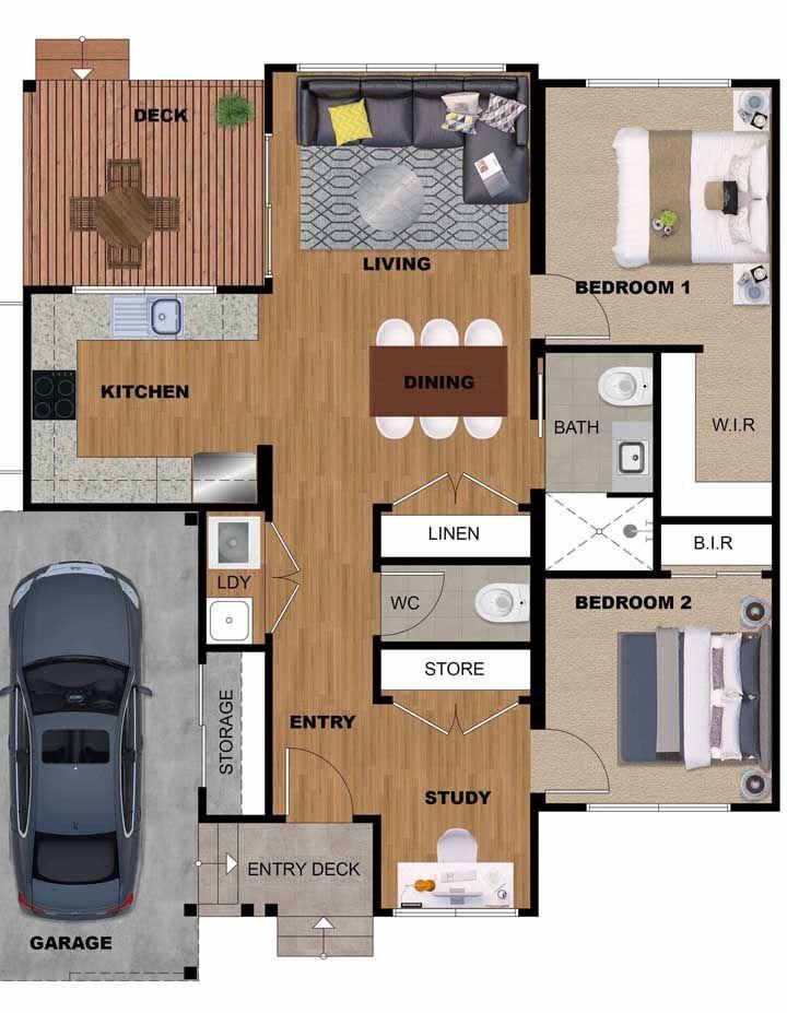 Quanto mais integração, mais visualmente ampla fica a casa; por isso essa planta traz sala de estar, jantar, cozinha e estúdio de trabalho em um mesmo ambiente, delimitados discretamente pela presença do lavabo