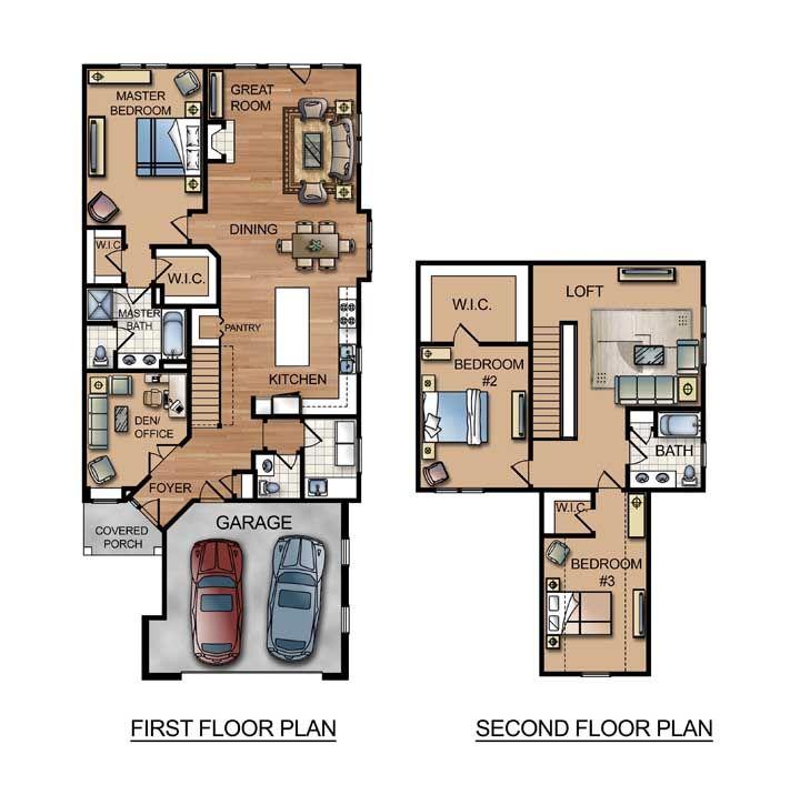 Planta de sobrado pequeno em uma configuração muito comum: quartos no pavimento superior e área social no primeiro piso