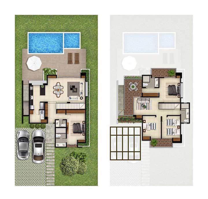 Planta de casa pequena com piscina: o planejamento aqui foi fundamental para criar espaços funcionais, bonitos e bem distribuídos