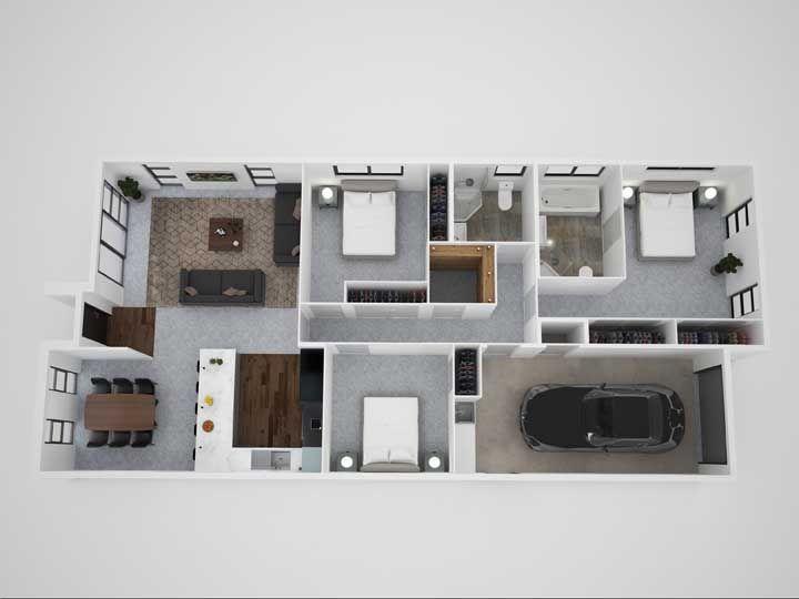 A planta em 3D permite visualizar com maior precisão os detalhes do projeto, chegando muito próximo do modelo real