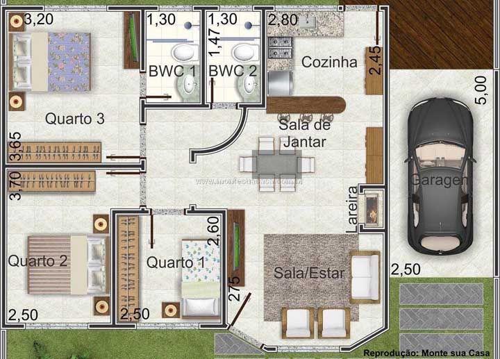 Planta de casa pequena quadrada com ambientes bem distribuídos e planejados