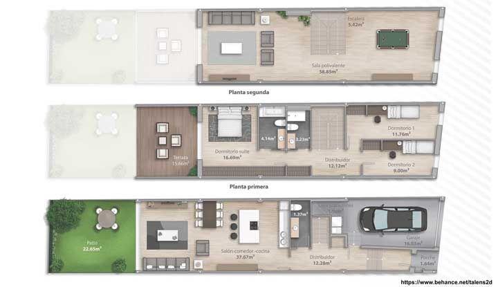 Projeto de casa com três pavimentos; o primeiro piso conta com cozinha, sala de jantar e sala de estar, no segundo andar ficam os quartos da família e no último piso, um espaço social com área de jogos e living amplo