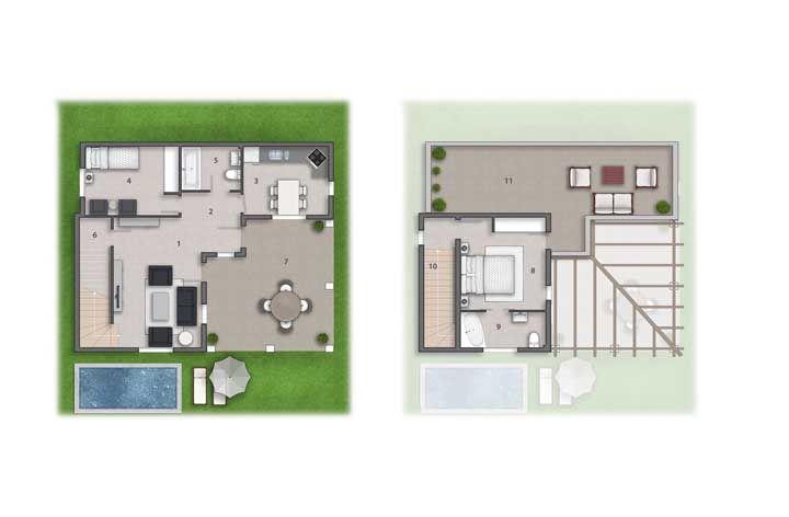 A melhor solução aqui foi projetar um sobrado pequeno de modo que sobrasse área para uma piscina e um terraço gourmet