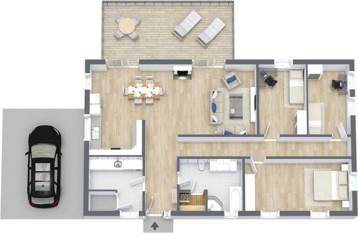 Planta para casa com quatro quartos; o extenso corredor central corta a casa ao meio visualmente