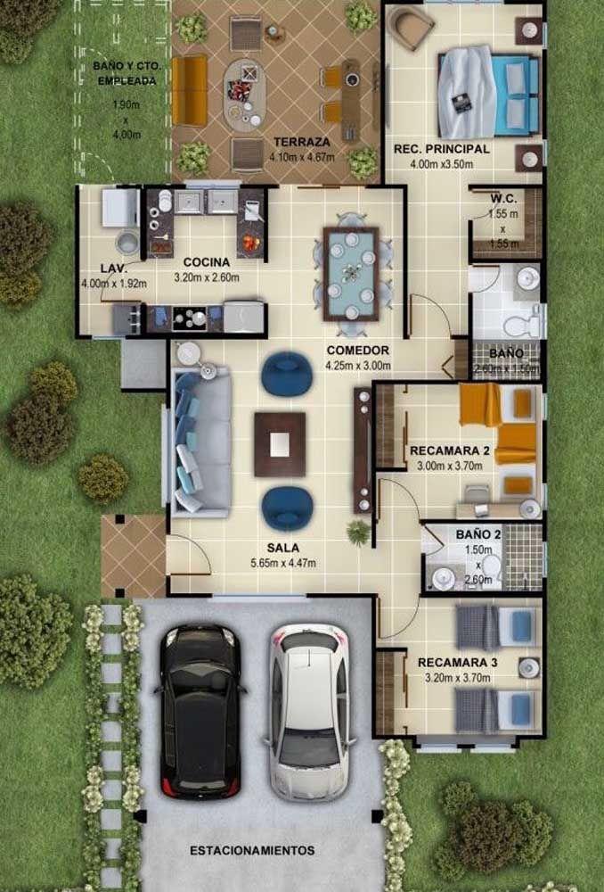 Planta de casa pequena com três quartos e cozinha americana; o fundo dos terrenos ainda pode ser aproveitado para uma área externa de lazer