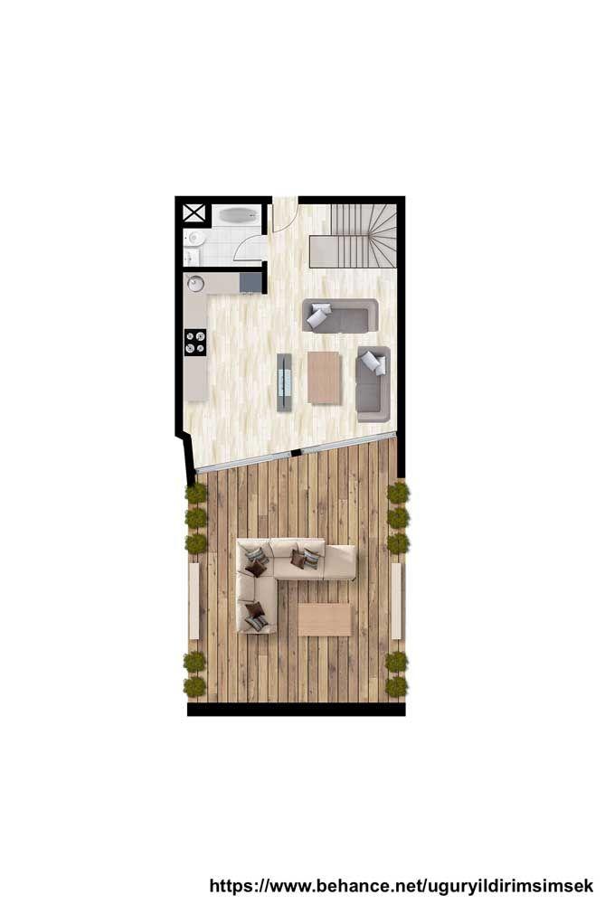 Mais um modelo de planta de sobrado pequeno para você se inspirar; o piso inferior contempla sala de estar e cozinha integradas mais o terraço