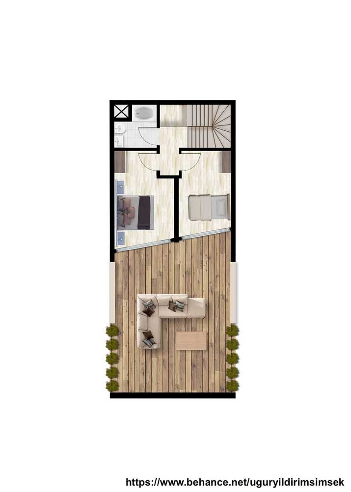 Já a parte superior da planta abriga dois quartos e um banheiro; um projeto pequeno, mas muito bem estruturado capaz de atender com conforto a pequena família