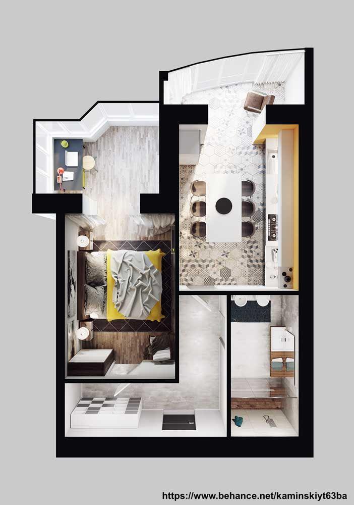 Planta de casa pequena em 3D com um quarto, banheiro e sala de jantar e cozinha integradas; destaque para o pequeno home office montado junto ao quarto do casal