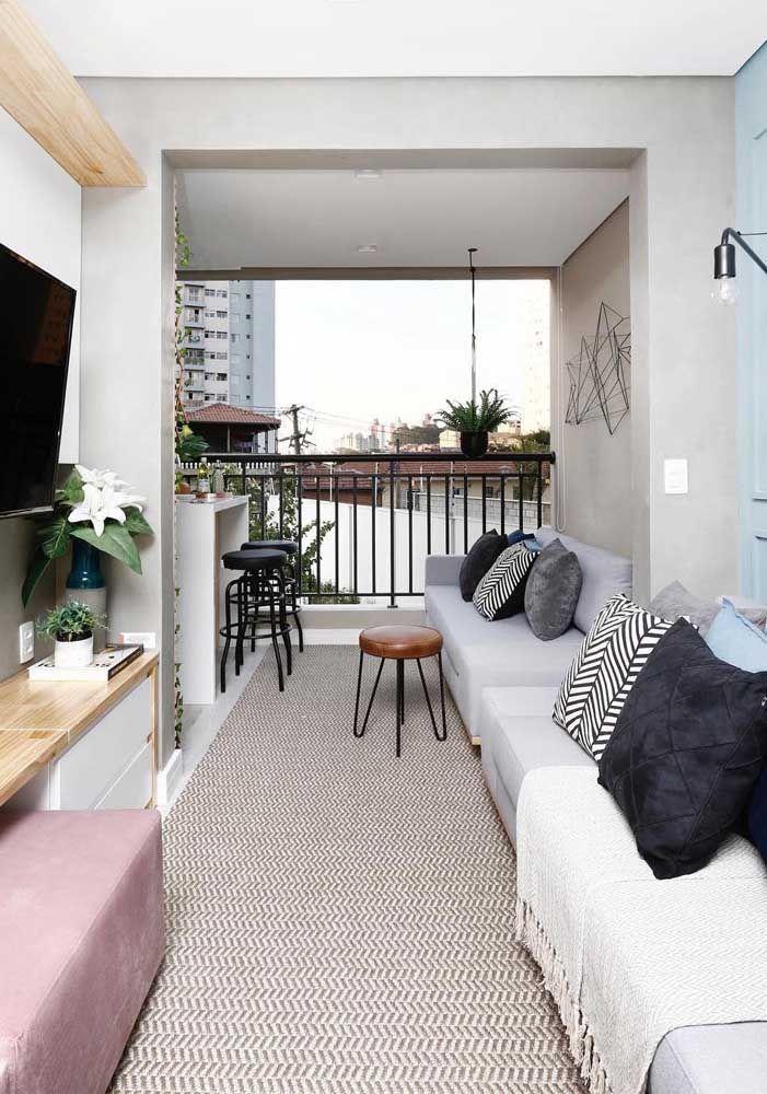 Retangular e estreita: sala dois ambientes comum em apartamentos