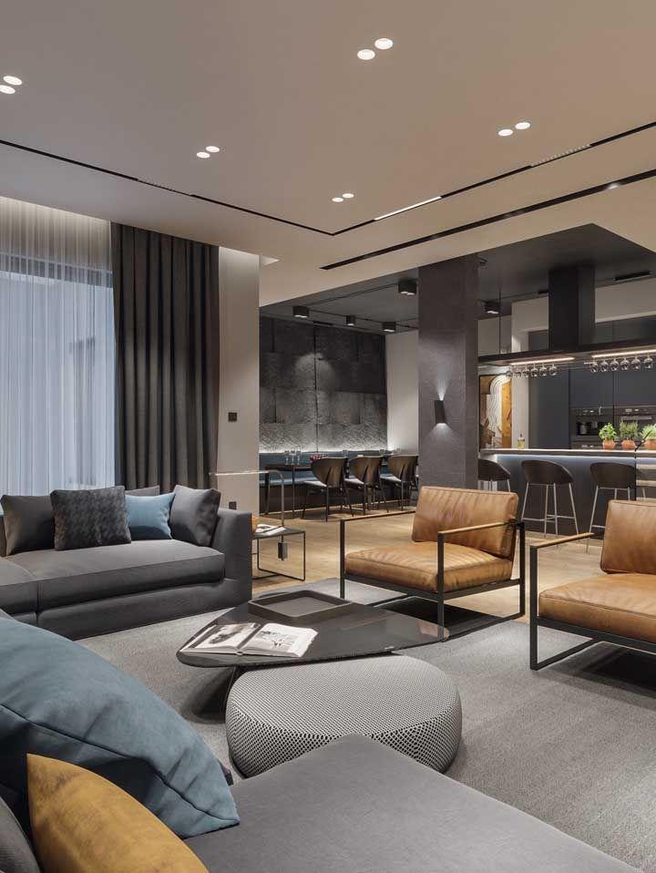 Moderna, sóbria e elegante: um só estilo para todos os espaços integrados