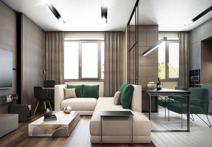 Dois ambientes e uma mesma paleta de cores